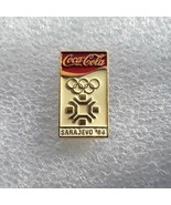 "1984 Sarajevo Winter Olympics Sponsor Pin ""Coca-Cola top"" white backgrou... - $14.84"