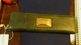 """Simply Noelle pencil case green recycled leather New NWT 8"""" Long Zipper ... - $9.99"""