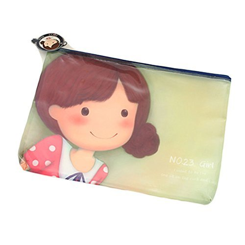 Primary image for Cute Document File Stationery PVC Zipper Bag Holder Pocket Pouch - Green