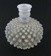 Vintage White Clear Milk Glass Hobnail Opalescent FENTON Ribbed Perfume Bottle - $13.36
