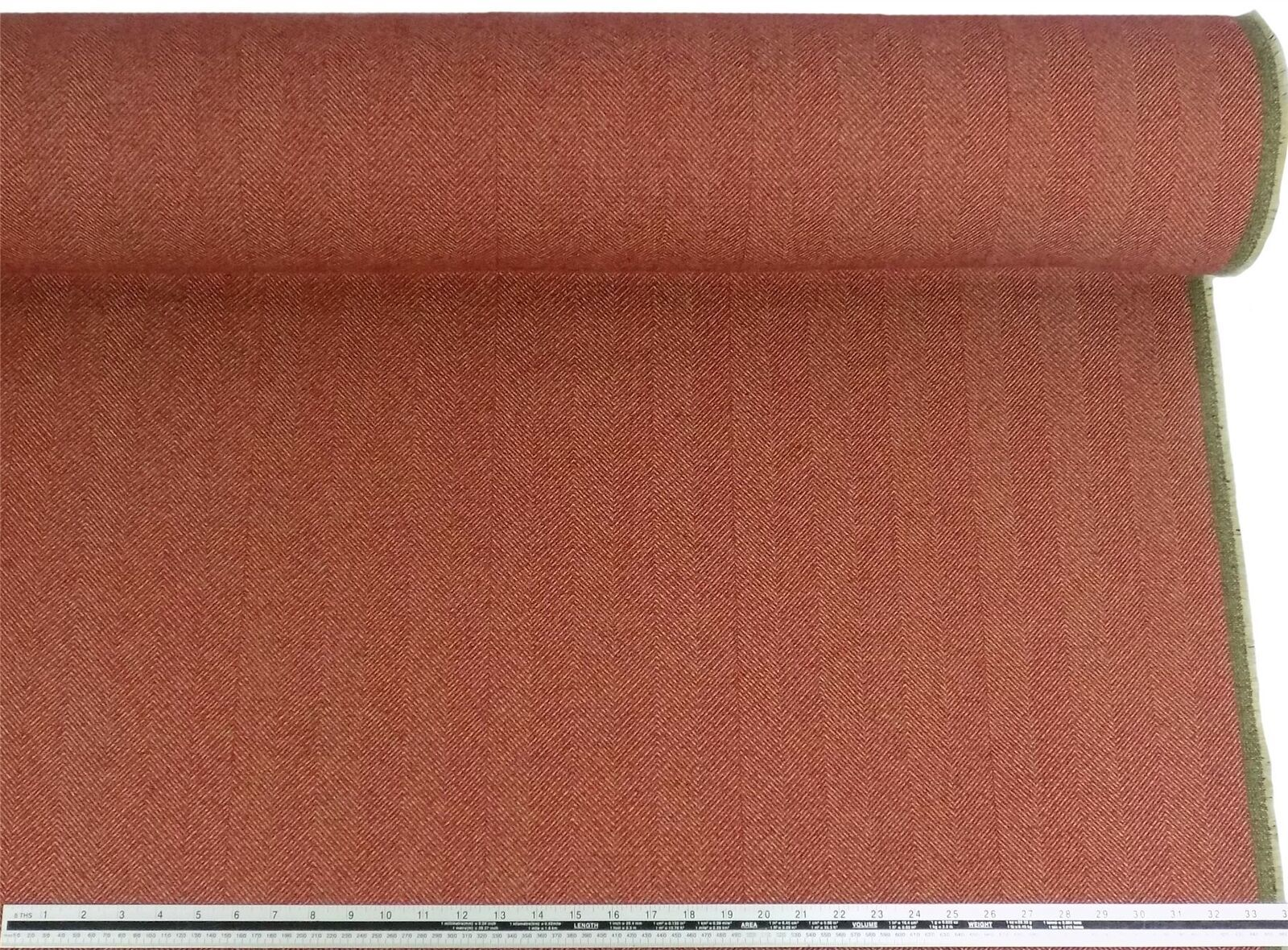 Herringbone Wool Look and Feel Red Upholstery Fabric Material *2 Sizes*