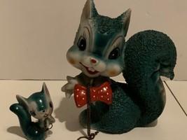 Vintage Arnart Spaghetti Texture Ceramic Green Squirrel Red Bow Tie Japan  - $24.75