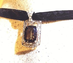 Vintage Genuine Clear And Smoky Quartz 925 Sterling Silver Pendant Necklace - $123.75