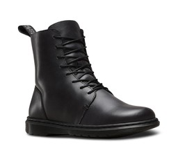 Doc Martens Black DANICA Flat Semi Sq Toe Faux Fur Insole Leather Boots ... - $89.99
