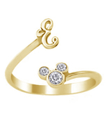 Mickey Mouse Disney Initial E Ring Round Cut Diamond 18k Gold Plated 925... - £17.40 GBP