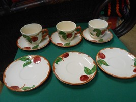 """-Magnificent FRANCISCAN  """"Apple"""" Pattern .. 3 CUPS & SAUCERS & 3 FREE Sa... - $12.19"""