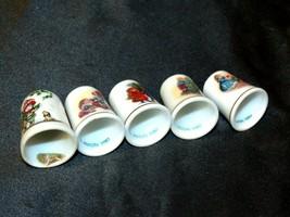 5 Ceramic Christmas Thimbles AB 273 Vintage