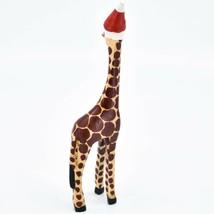 Hand Carved & Painted Jacaranda Wood Santa Hat Giraffe Safari Christmas Figurine image 2