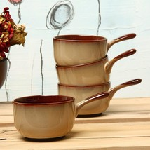 SANGO-ONION-SOUP-BOWLS-SET-OF-4-STONWARE-BAKEWARE-BROWN-OVEN-TO-TABLE-NEW- - $199.90