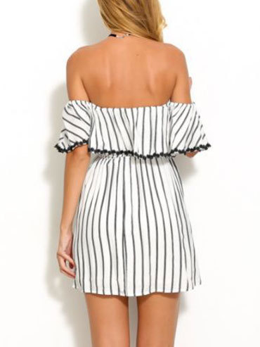 Black and white striped summer cotton princess mini off shoulder dress with short sleeve3