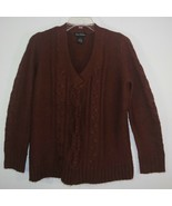 Linda Matthews V-Neck Cable Knit Accent Rust Brown Soft Acrylic Pullover... - $6.91