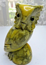 """VINTAGE CARVED YELLOW STONE MARBLE ALABASTER OWL SCULPTURE GLASS EYES 4""""... - $30.00"""
