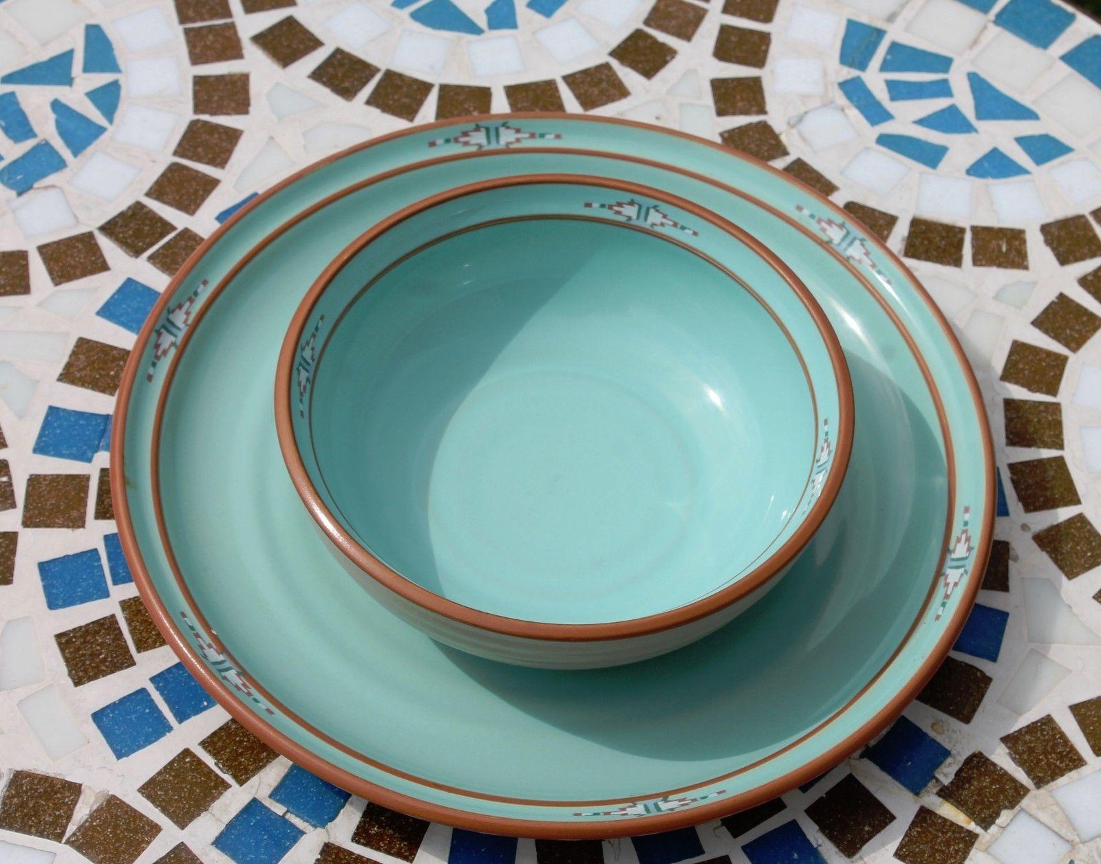 Noritake Stoneware Japan Dinner Plate & Cereal Soup Bowl Boulder Ridge Turquoise
