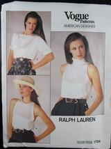 Vintage Vogue Pattern Ralph Lauren 1724 Uncut Size 14 Blouse American De... - $74.25
