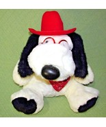 "Vintage 18"" BARKER COWBOY PUPPY Commonwealth DOG Red Scarf Hat GLASSES Plush Toy - $23.76"