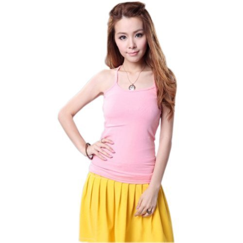 Super Soft Active Sports Shaping Tank Top Strappy Scoop Neck Camisoles Pink