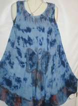 Dress Blue Butterfly Batik Sleeveless Free Size Fits L to XL Free Ship - $17.75