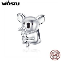 WOSTU Koala Animal Beads 100% 925 Sterling Silver Charm Fit Original DIY... - $19.87