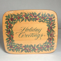 Longaberger Holiday Greetings American holly card keeper lid - $49.01