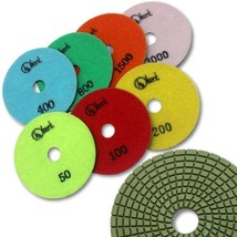 "KENT 7 pcs 5"" Diameter Premium Quality 3mm WET Diamond Polishing Flexible Pads - $86.92"