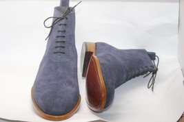 Handmade Men's Blue Suede Two Tone High Ankle Lace Up Boots image 4