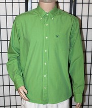 AMERICAN EAGLE Men's L Large Green & Blue Striped Button Down Long Sleev... - $492,13 MXN