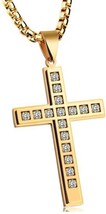 Men's Fashion Religion Stainless Steel Crystal Tag Pendant Cross - $40.29