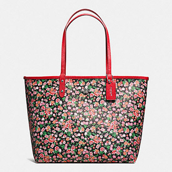 F57669 reversible city tote in posey cluster floral print coated canvas  coach f57669  1f