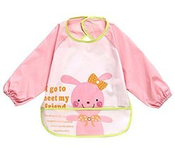 Cute Cartoon Rabbit Waterproof Sleeved Bib Baby Smock Baby Bibs, 0-3 Years