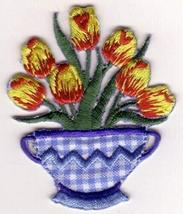 Yellow Tulip Flowers in Vase Embroidery Patch - $12.87