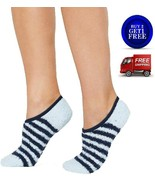 Charter Club Fuzzy Cozy Socks Blue Striped Liners - NWT - $6.80