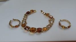 amber/root beer colored rhinestone bracelet & Hoop Earrings - $32.18