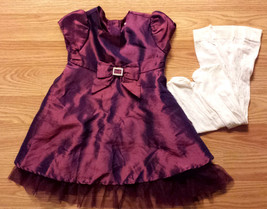 Girl's Size 6-9 M Months 2 Piece Purple Iridescent Dress W/ Bow, Footed ... - $20.00