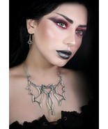 Alchemy Gothic Dual Dragon Consort Necklace Articulated Wings Love Heart... - $59.95
