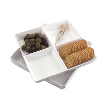 Avant 4-Compartment Plastic Appetizer Serving Tray | set of 4 White - $18.72