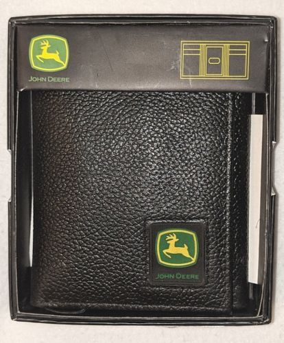 John Deere LP12268 Black Tri Fold Genuine Leather Wallet