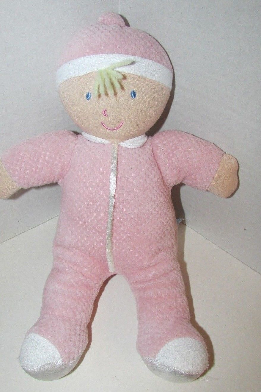 Kids Preferred doll baby soft plush pink thermal satin trim hat blonde hair