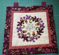 "Hand Made Quilt Wall Hanging GIVE THANKS Lavender Maroon Cream 16"" x 16"" - $29.95"