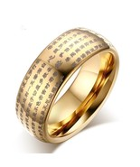 Engraved Chinese Buddhist Texts Tungsten Ring for Men Religions Lucky - $19.99