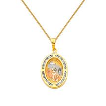 14k Tri-tone Gold CZ First Communion Pendant wi... - $150.00 - $168.00