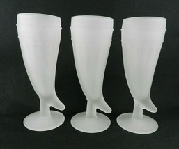 Set of 3 Indiana Glass Tiara White Frosted Mugs Powder Horn Pilsner Glass - $13.85
