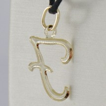 18K YELLOW GOLD PENDANT CHARM INITIAL LETTER F, MADE IN ITALY 1.0 INCHES, 25 MM image 2