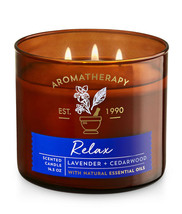 Bath & Body Works Aromatherapy Lavender & Cedarwood 3 Wick 14.5 Ounces C... - $22.49