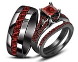 14k Black Gold Over 925 Silver Red Garnet Wedding Band Engagement Ring Trio Set - $2.631,08 MXN