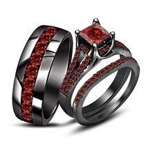 14k Black Gold Over 925 Silver Red Garnet Wedding Band Engagement Ring Trio Set - $168.99
