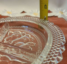 "Relish Dish Vintage Candy Fruit Three Compartment 8 1/2"" dia Clear Glass 1960's image 3"