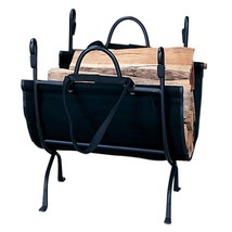 UniFlame Deluxe Wrought Iron Wood Holder Fireplace Accessory w/Canvas Ca... - $74.99