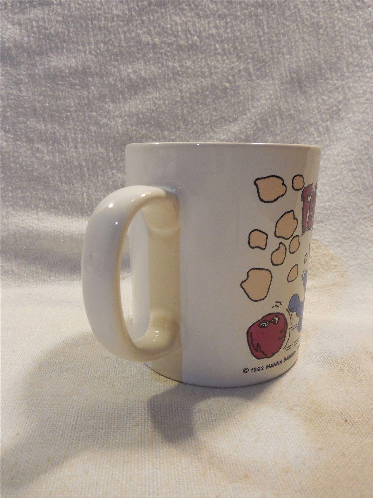 Flintstones 1992 KilnCraft Ceramic Coffee Mug Fred Bowling Dino Cheering