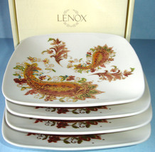 Lenox Burnished Amber Paisley Tidbit Party Square Plate Set of 4 $86 New - $39.90