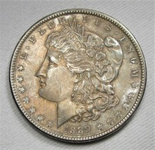 1889-P Morgan Dollar VCH+ AU Coin Champagne Bloom AD668 - $46.38